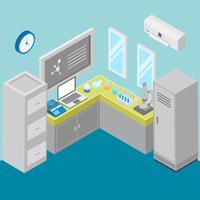 Laboratory With Isometric Style Vector Illustration