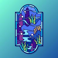 Under Sea Stained Glass Window Vector