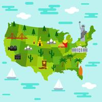 United States Landmark Map Vector Background
