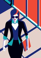 Professional Woman Walking At Office vector