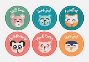 Vector Cute Animals Teacher Reward Stickers
