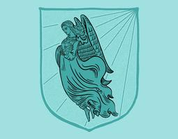 angel coat of arms vector