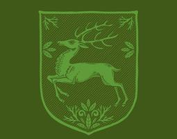 Stag coat of arms vector