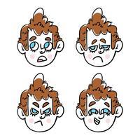 Carácter lindo del muchacho con la colección de Emoji