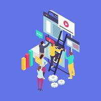 Business Management Teamwork With Isometric Style Vector Illustration