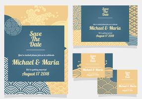 Wedding Invitation with Japanese Style vector