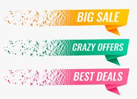 abstract particle style origami sale banner set