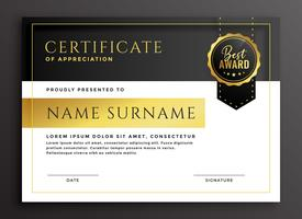 certificate template in golden luxury style