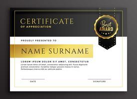 modèle de certificat dans le style de luxe d'or