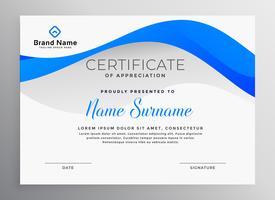 modèle de certificat professionnel bleu moderne