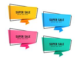 set of four bright colorful origami sale banners