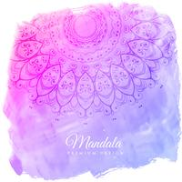 beautiful watercolor background with mandala art