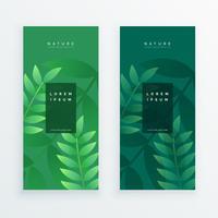set di due banner di foglie verticali
