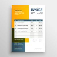 modern yellow invoice template design
