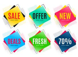 set of six abstract sale stickers