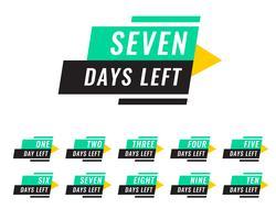 modernt antal dagar kvar etiketter