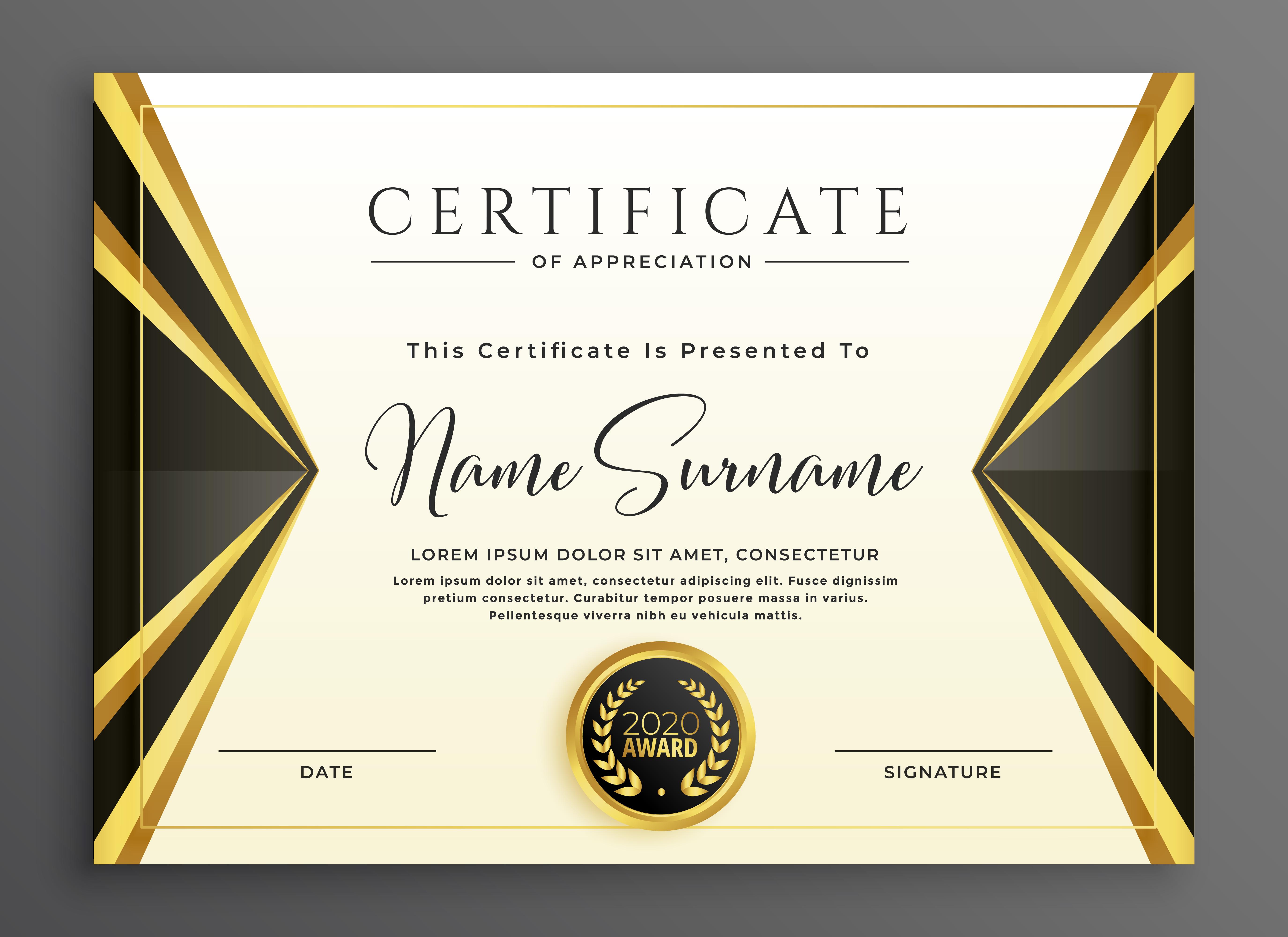 kreative Zertifikat Vorlage mit luxuriösen goldenen Formen ...