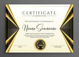 creative certificate template with luxury golden shapes