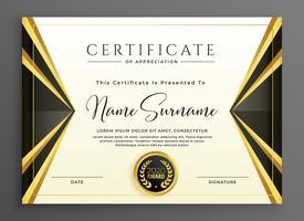 kreative Zertifikat Vorlage mit luxuriösen goldenen Formen