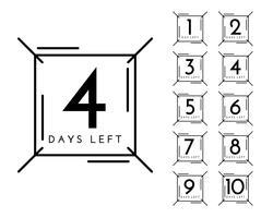 nombre de jours restants badge dans le style de ligne