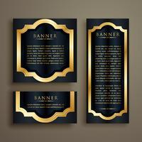 Conjunto de banner de oro vintage luxurty