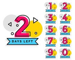 numero di giorni lasciati badge per la vendita o la promozione