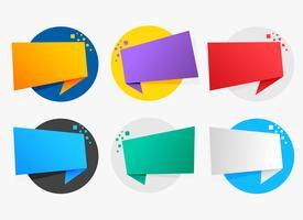 coloridos símbolos de origami con espacio de texto