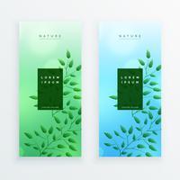 vertikal natur lämnar banner design
