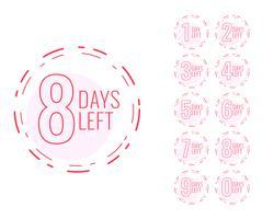 nombre de jours restants symbole dans la conception minimale