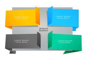 uppsättning av fyra tomma origami chat bubbla