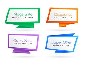 set of origami style sale banner