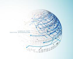 lignes numériques de technologie dans le style de sphère 3d