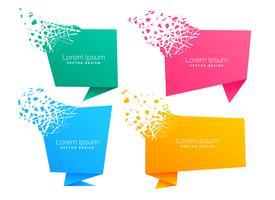 leeres Origami-Chat-Symbol mit Partikel-Effekt