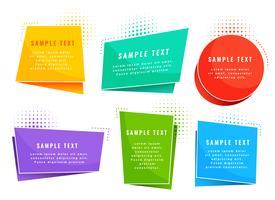 símbolos de etiquetas de estilo de origami colorido