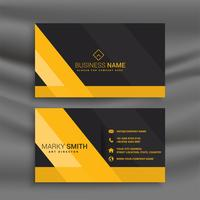 dark business card with yellow shapes