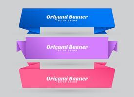 abstrakta origami banderoller satt med textutrymme