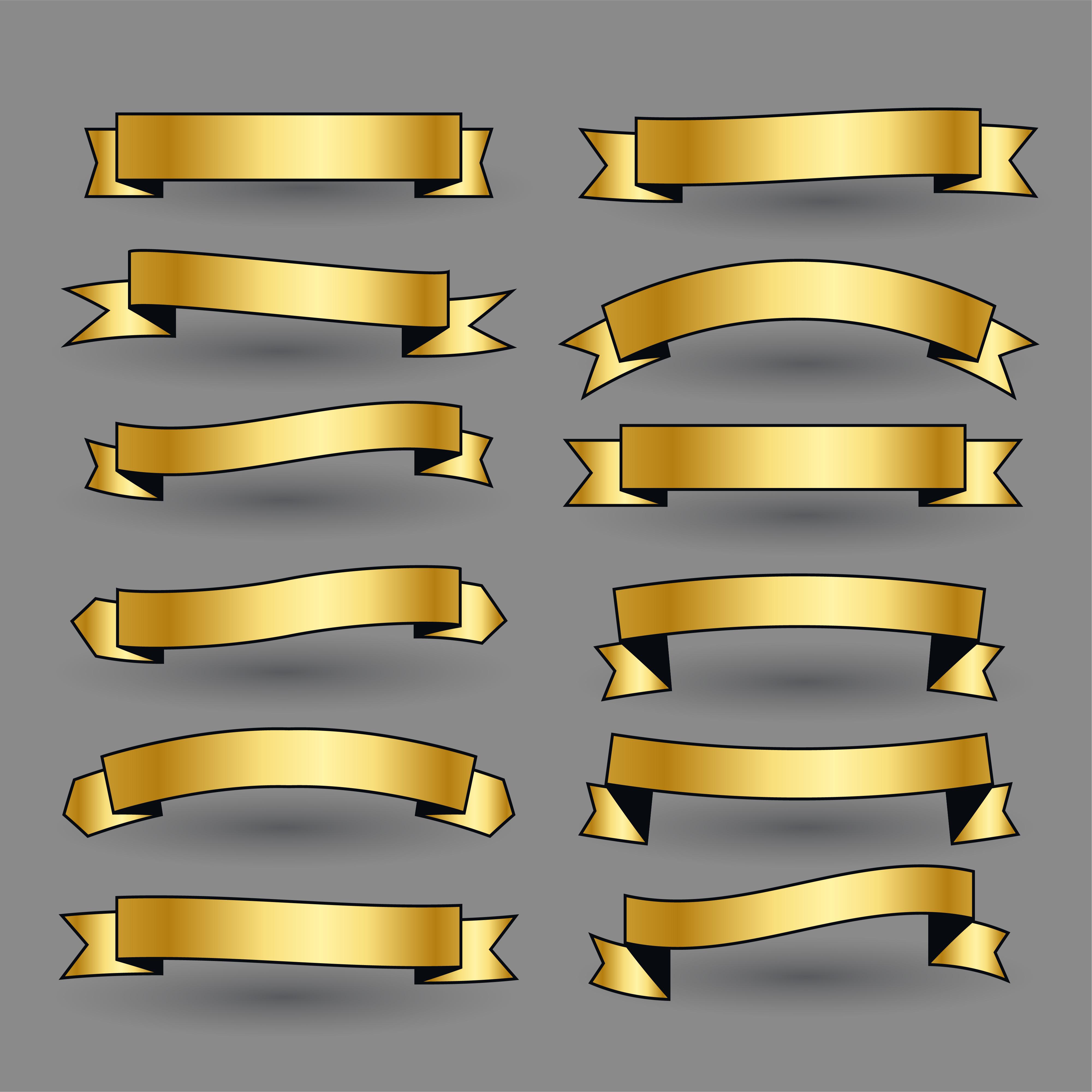Reihe von goldenen Bändern Banner - Kostenlose Vektor-Kunst, Archiv ...