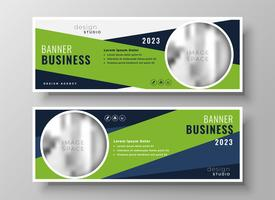 green geometric business banners with image space