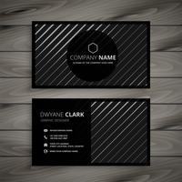 black business card with diagonal lines