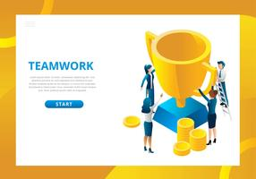 Teamwork Isometric Scene Vector