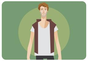 Curly Man With Blank T-Shirt Vector