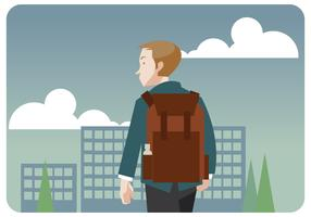 Boy's First Day of School Vector