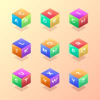 3D Cube School Themed Alphabet Vector