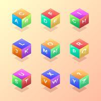 3D-Würfel-Schule-Themed Alphabet-Vektor