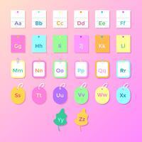 Vector de alfabeto temática de escuela de papel colorido
