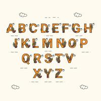 Hand Drawn Autumn Alphabet Vector