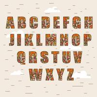 Autumn Alphabet Vector Illustration