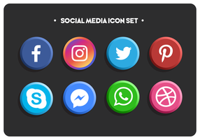 Simple Flat Colored Social Media Icons Set