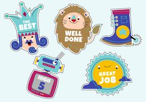 Funny Cartoon Character Teacher's Reward Sticker Set Vector Illustration