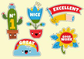 Funny Cute Cartoon Teacher's Reward Sticker Set vector Illustration